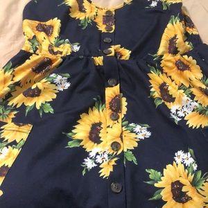 Dresses - Lovely Navy Blue Sunflower Sundress!